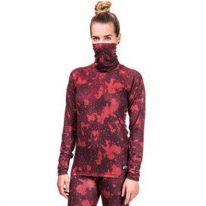 Bluză Schi HORSEFEATHRES MIRRA NECK L/S Strawberry Camo